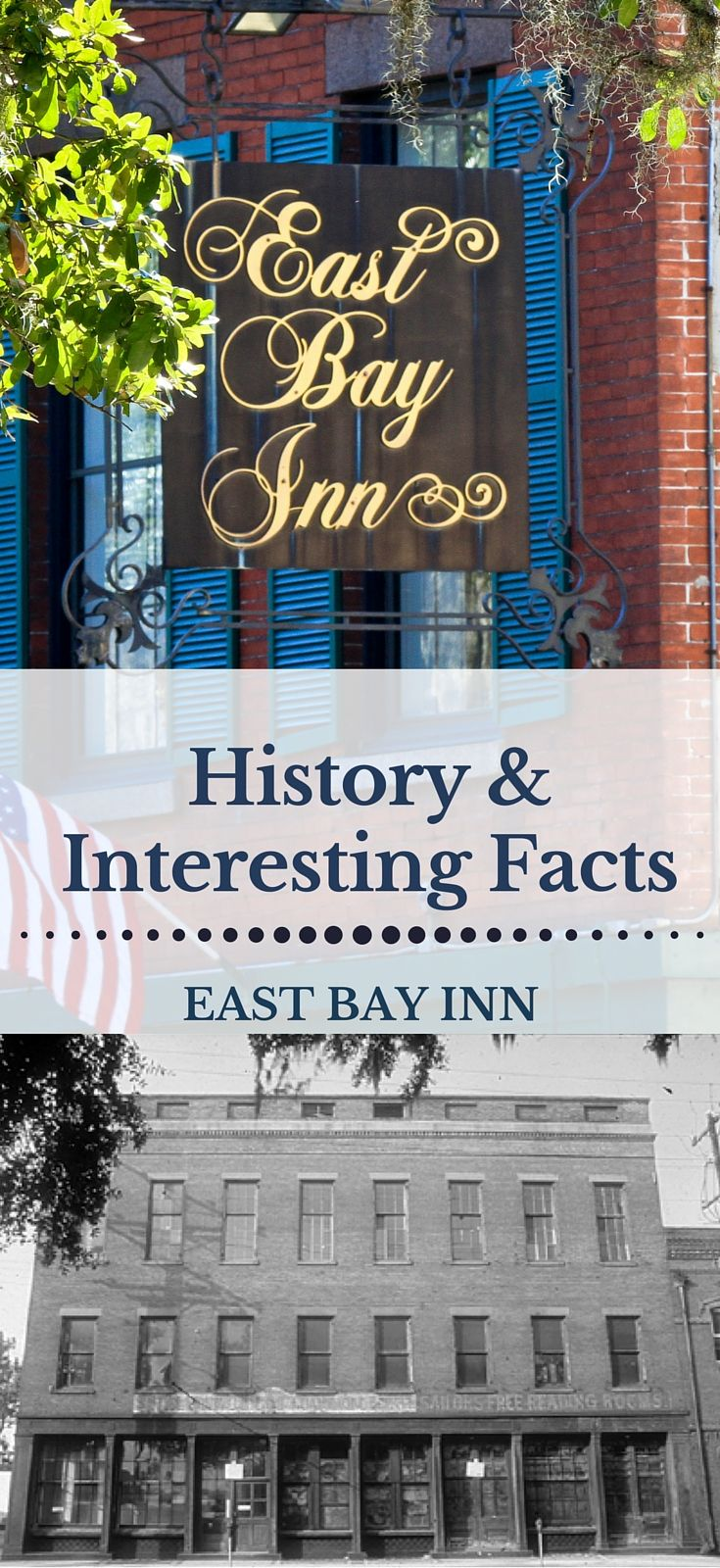 History of the East Bay Inn, our Historic Savannah Hotel --- The story of this historic Savannah Inn—East Bay Inn—began September 7, 1762, when the land on which the Inn now stands was granted to Mr. John Tucker by the Crown of England. Over the next ninety years, the property changed hands several times. On June 17, 1852, Edward Padefford purchased the property and began construction on the building that would one day become the East Bay Inn.