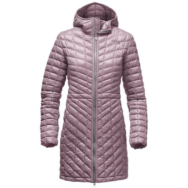 The North Face Women's THERMOBALL Hooded Down Parka Coat (€220) ❤ liked on Polyvore featuring outerwear, coats, faux coat, the north face, hooded coat, hooded parka coat and purple coat