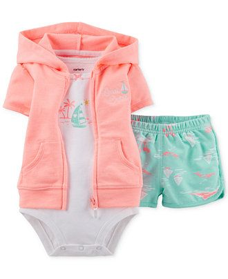 Carter's Baby Girls' 3-Piece Cardigan, Bodysuit & Shorts Set - Kids Baby Girl (0-24 months) - Macy's
