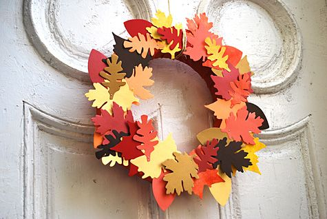 paper and fabric leaf wreath