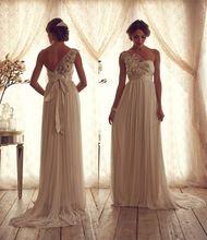 Új Anna Campbell 2015 Dizájn esküvői ruha egy váll A Line padló hossz Peremezés Köntös Esküvői ruha menyasszonyi ruha Vestidos (Kína (szárazföld))
