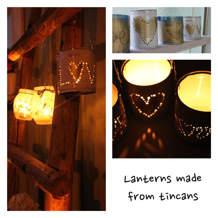 Nice recycled lanterns that I made out of used tincans. #diy #tincan #lantern #recycle
