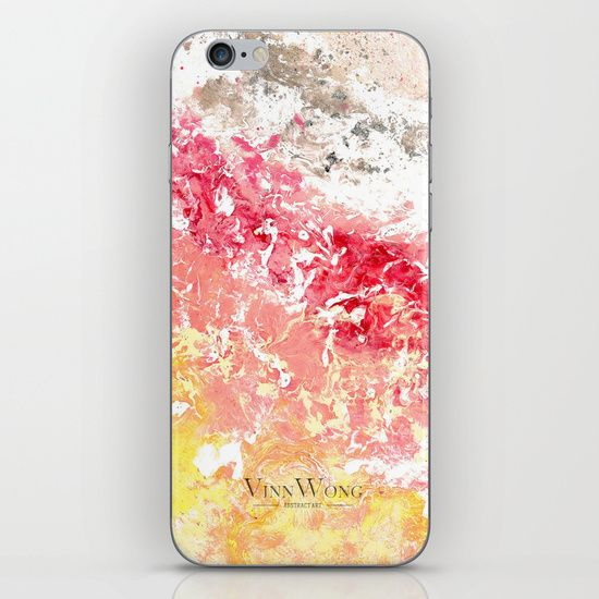 Sakura and cherry blossom blizzard inspired pink and yellow abstract iPhone and iPod Skins by Vinn Wong | Full collection vinnwong.com | Visit the shop or Pin it For Later!