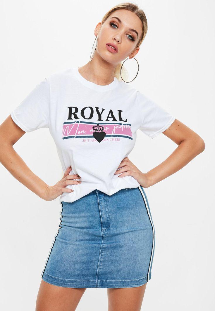 White Royal Slogan Graphic T-shirt