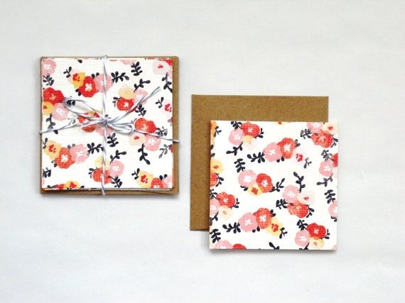 folded note card set.coral flowers. 5pak by magdalenarose, $4.00
