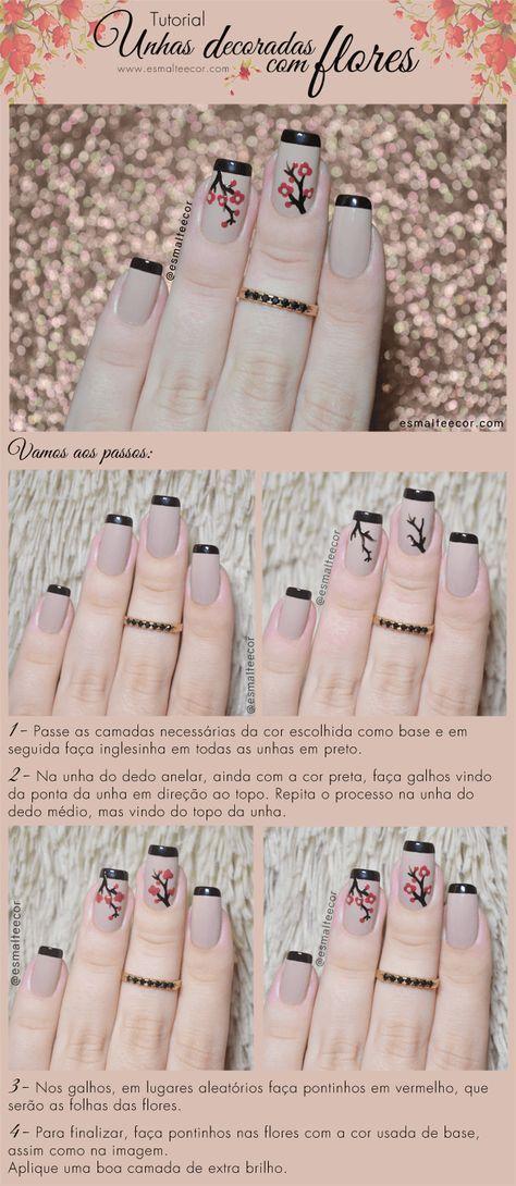 Unhas decoradas com flores tutorial nail art flower nail unha decorada com flor florzinha passo a passo unha