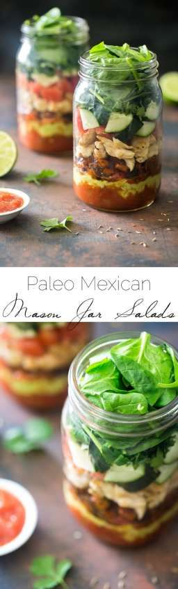 Healthy Taco Salad Recipe - Low carb, gluten free and Paleo friendly! It's served in a mason jar for a portable, easy lunch, that wont get soggy!