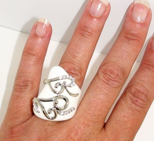 Couture White Ring with Sterling Silver Swirls and Sparkling CZs: Silver Swirls, Sparkle Czs, Sterling Accent, Sterling Silver, White Rings, Couture White, Bling Bling