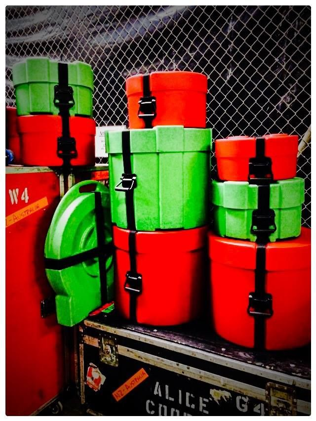 Motley Crue Alice Cooper Tour representing Humes & Berg Enduro & Enduro Pro Drum Cases! Bright Red for Tommy Lee and Crushed Glass in Lime Green for Glen Sobel