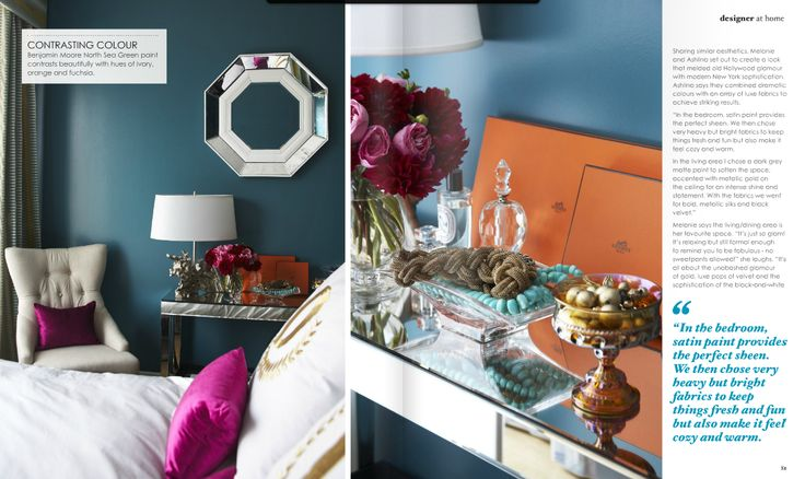 peacock blue and fuschia bedroom...I kind of LOVE this... Why didn't I think of this? #ReadyToRedecorate