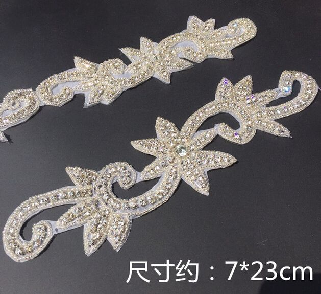 1Pc White Charming Crystal Rhinestone Applique Trim Iron On Bridal Costume Beaded Handcraft Clothes Dec. 7x 23CM-in Rhinestones from Home & Garden on Aliexpress.com | Alibaba Group