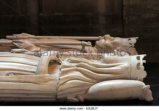 Basilica of St. Denis. Chapel of St. John the Baptist. Gisant (recumbent effigy tomb) of Charles VI also known as - Stock Image