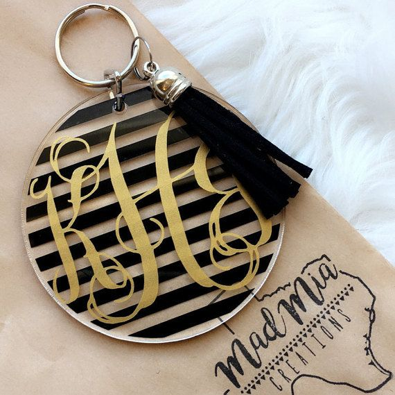 3 Striped Vine Monogram Keychain With Tassel by MadMiaCreations