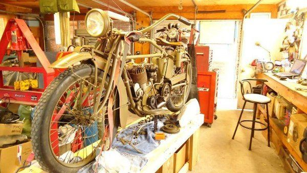 Indian motorcycle on workbench
