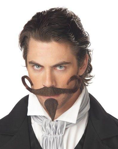 Mens Adult Deluxe Brown BIG JOHN Wig Moustache//Goatee