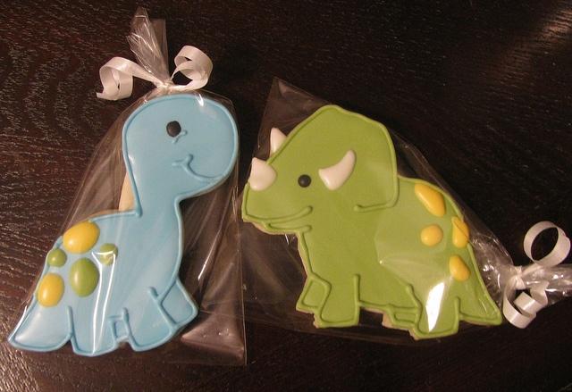 Dinosaur cookies by CenterStageSweets, via Flickr