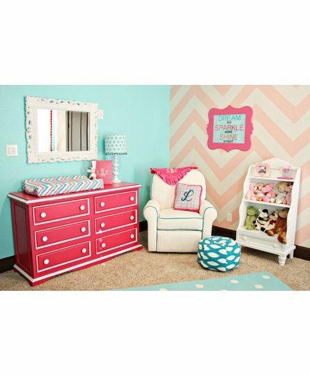 I LOVE the femininity of the nursery (Aqua Walls, Soft Pink Chevron Accent Wall, Fuschia Dresser Changer with White Trim)