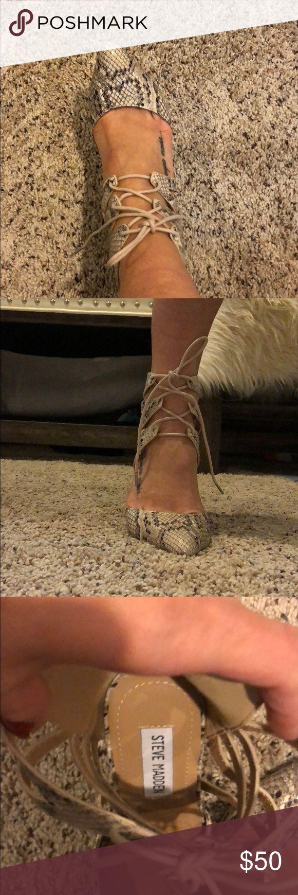 Snake skin shoes Great lace up heels snake skin color size 6 Steve Madden Shoes Heels