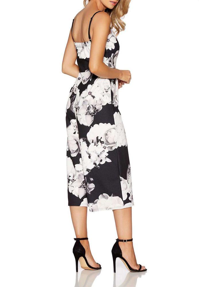 Womens *Quiz Black and Cream Jumpsuit- Black