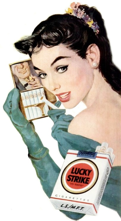 Lucky Strike - 1952 . The man in the mirror. It seems everyone smokes in #Carol movie set in the early #1950s (2015)