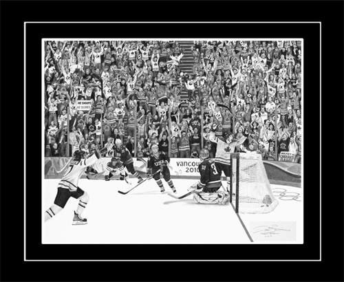 """""""The Golden Goal"""".  This is a Limited Edition print of my graphite/pencil artwork available in galleries nationwide and on my website.      There are 276 fans in the stands, all with unique detailed facial expressions and body language. Canadian hockey fans are second to none and an integral part of Canada's success in this sport. The emphasis of this piece is not just the goal itself and the player reactions, but the fact that the whole nation was behind this team."""