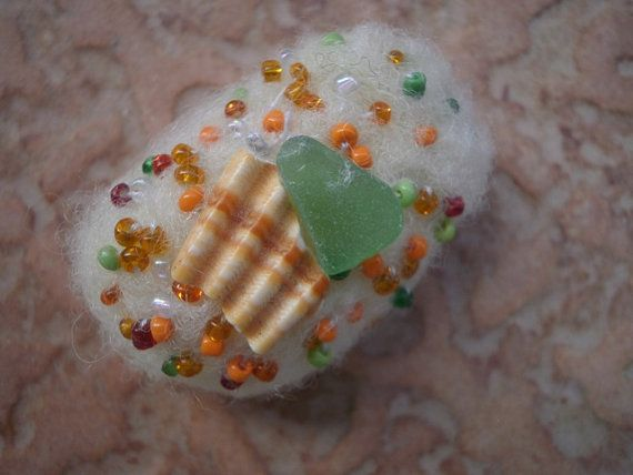 Sea glass beaded felted stone ecru felted stone by thalasseaglass, $7.00