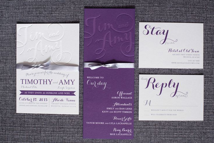 Purple Wedding Invitation Suite from P.Ink Creative Invitations for NotWedding. Blind Letterpress.  Purple, gray and silver suite