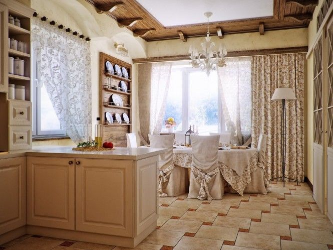 country style kitchen dining area