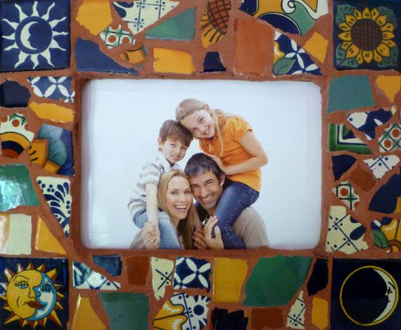 Mosaic Picture Frame Mexican Tiles fit 7x5 photo by SunAndCraft, $32.00
