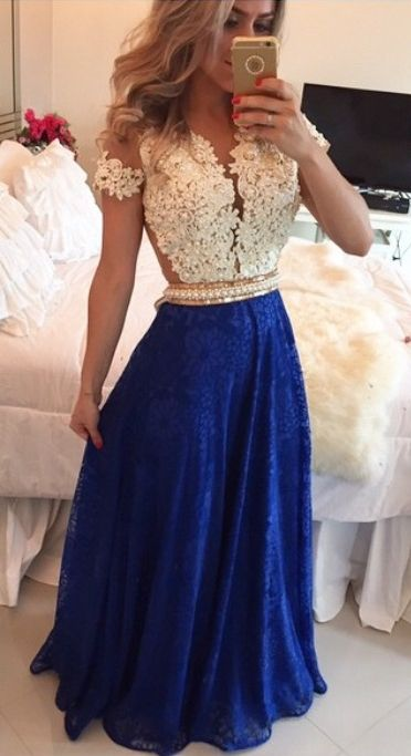 2016 Short Sleeves Lace Long Prom Dresses White&Blue Pearls Beaded Sheer Formal Evening Gowns