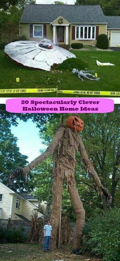 home decoration ideas 20 spectacularly clever halloween home ideas someone down the road from me puts up their spaceship for halloween - Cool Halloween Decoration Ideas