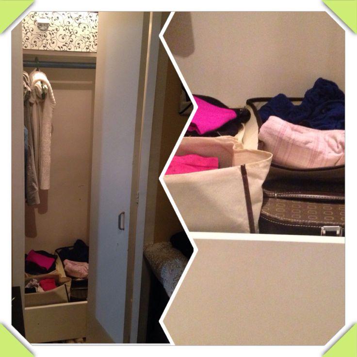 Utiliser vieux tiroir et petit bac de rangement pour maximiser votre garde robe