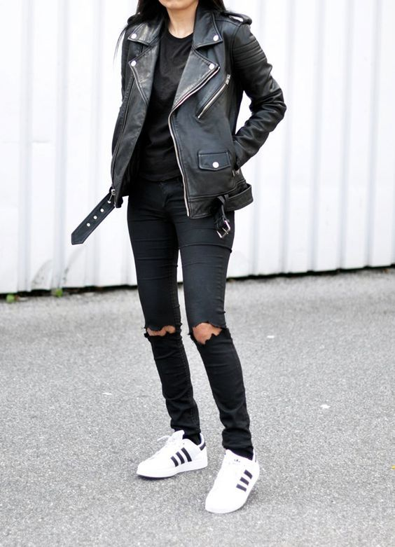 BlkDnm Leather Jacket + Ripped Black Jeans + Adidas http://FashionLandscape.blogandthecity.net/outfit-all-black-ripped-superstars/#.U256wl5H1FI: