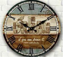 34 см старинные деревянные настенные часы деревенский большой круглая цифровой дом стена обстановка спальни кухня деревянные корабли с птицей печать(China (Mainland))