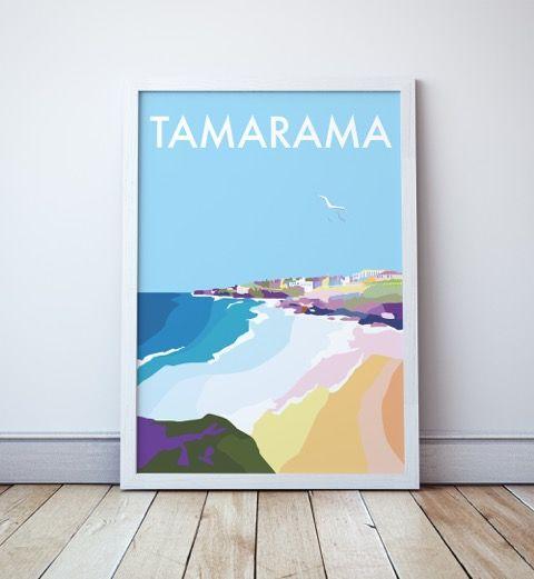 Tamarama Vintage Style Travel Print  Www.seascapeprints.cim.au