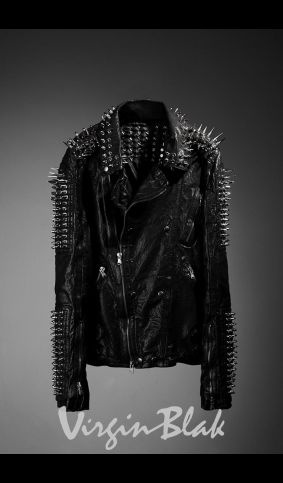 Studed leather jacket