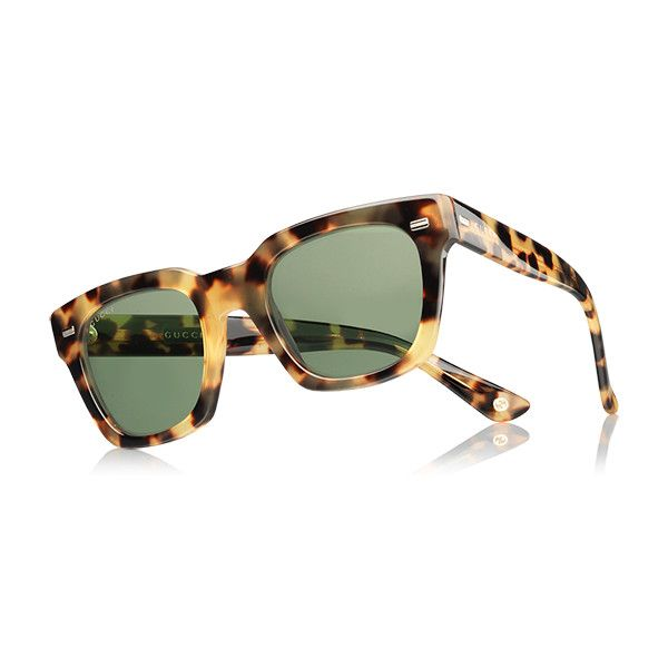 Gucci havana acetate square-frame sunglasses ($375) ❤ liked on Polyvore featuring accessories, eyewear, sunglasses, gucci glasses, tortoise shell sunglasses, gucci sunglasses, square glasses and green lens sunglasses