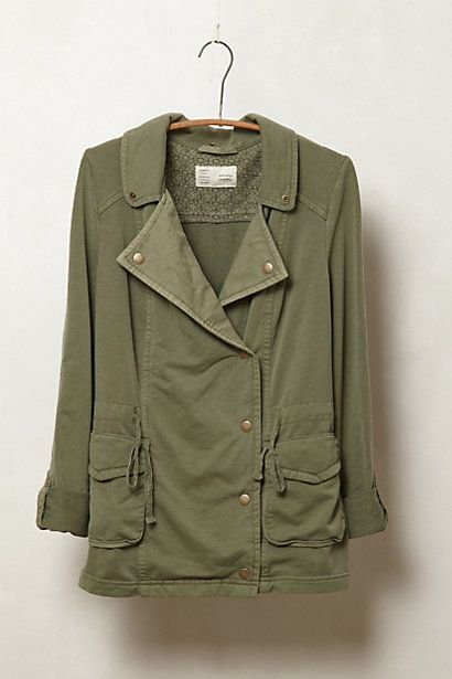 Tried this on in store - super comfy and so much cuter on -- Jersey Fatigue Jacket #anthropologie