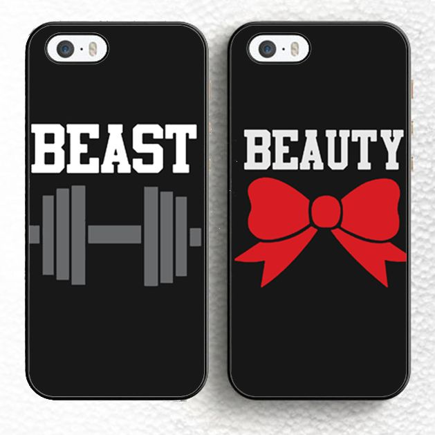 2pcs/lot Beauty and Beast Couples Soft Rubber Phone Cases For iPhone 6 6S Plus 7 7 Plus 5 5S 5C SE 4 4S Back Cover Skin Shell