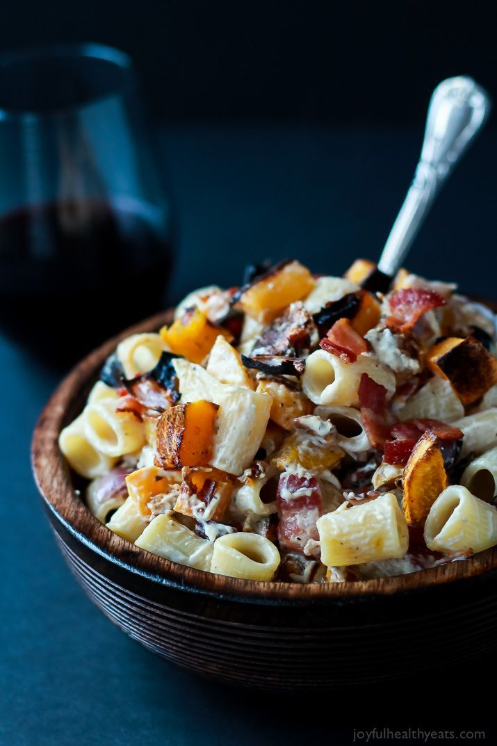 Tried this Roasted Butternut Squash & Goat Cheese Pasta and totally fell in love with all the flavors! Pin it, make it, now! | www.joyfulhealthyeats.com