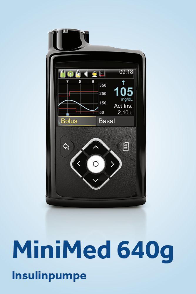 Unsere aktuelle Insulinpumpe MiniMed 640g: Sie ist mit integrierter CGM-Funktion (kontinuierliche Glukosemessung) und mit SmartGuard Technologie für den erweiterten Schutz vor Hypoglykämien ausgestattet.
