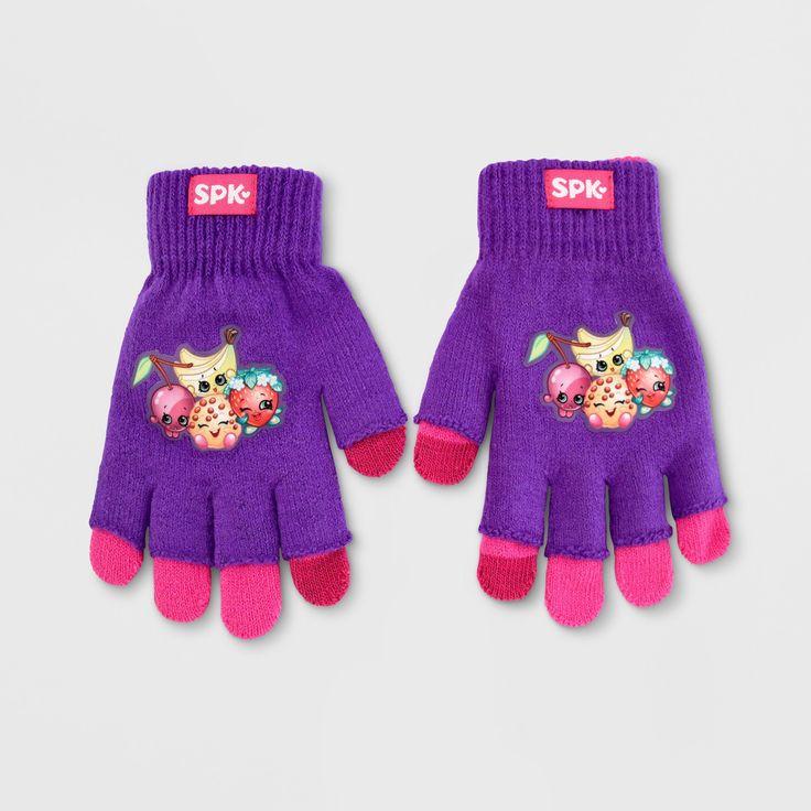 Girls' Shopkins Texting Gloves - Purple/Pink