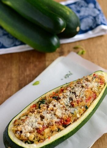 Sausage and Quinoa Stuffed Zucchini.  Yum. We made this today.  Should have baked the zucchini 5 minutes longer though.  We will definitely make this again!