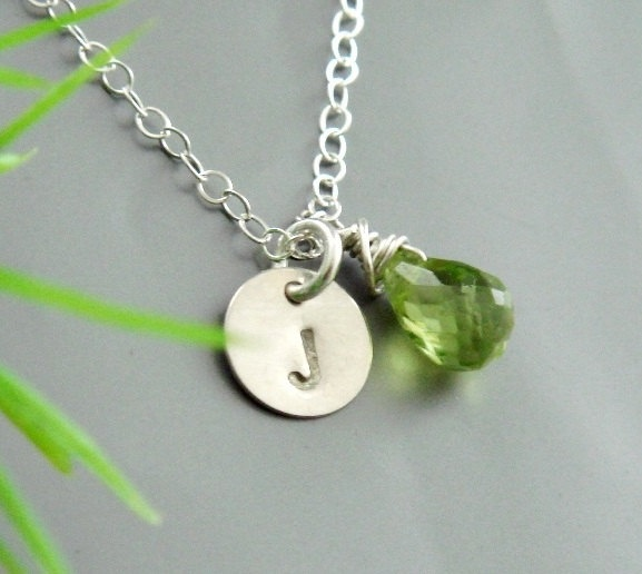 Necklace peridot august birthstone monogram necklace simple jewelry
