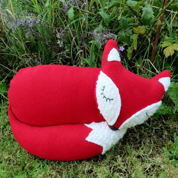 A snoozy fox pillow.  Snoozy fox cushion.  37cm in length.  14.6 inches.