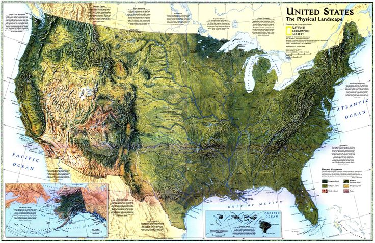 """""""""""United States: The Physical Landscape"""" 1996 map by National Geographic in 1996 [2298x1490]"""" by Maps-and-Music in MapPorn"""