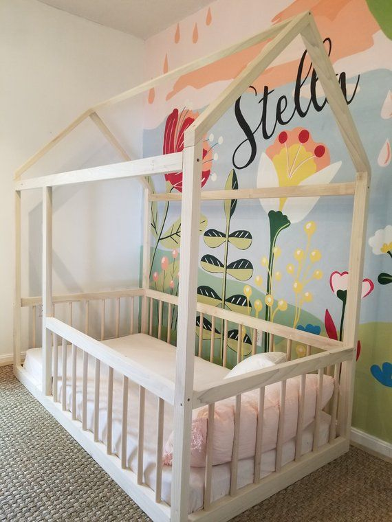 Full Montessori Floor House Bed Frame With Four Removable Etsy