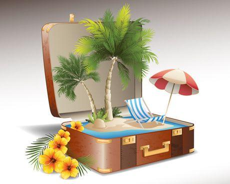 элементы путешествия и чемодан творческий фон набор