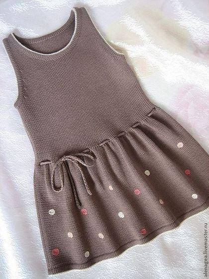 """Сарафан """"Горошинка"""" - вязаное платье,платье для девочки,вязаный сарафан"""