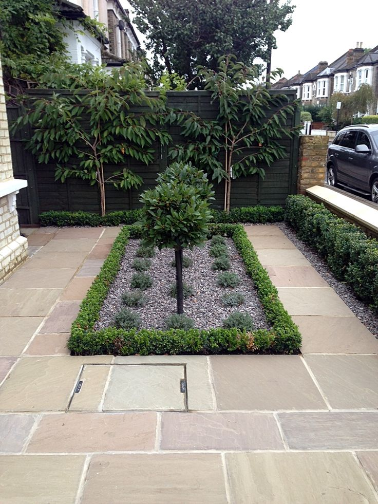 sandstone paving front garden balham london paving to disguise a drain